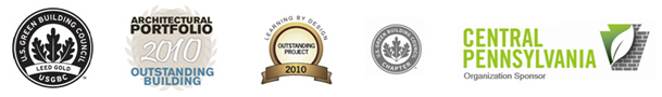 USGBC Leed Gold logo | Architectural Portfoio 2010 Outstanding Building logo | Learning by Design Outstanding Project 2010 logo | Central PA Organization Sponsor logo