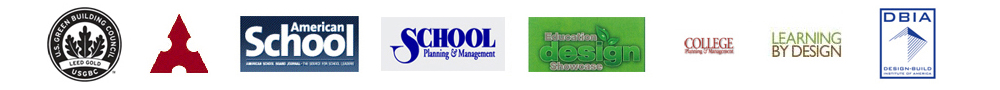 USGBC Leed Gold, American School & University, American School, School Planning & Management, Education Design Showcase, College Planning & Management, Learning By Design, and DBIA Design-Build logos