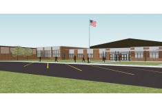 3D Concept drawing for Halifax Area Middle/High School in Halifax, PA